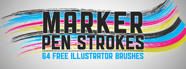 Marker Pen Strokes 64 illustrator brushes free
