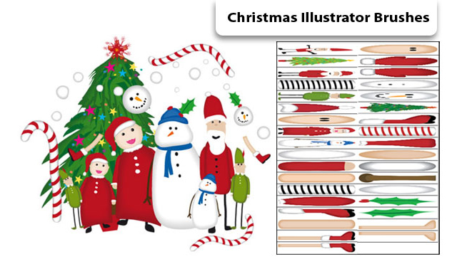 Christmas Pack 35 illustrator brushes