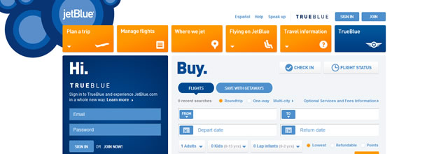 Jet Blue web orange site page
