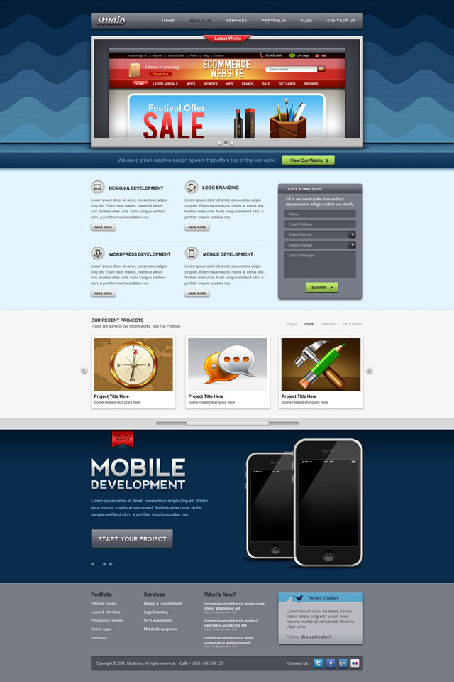 Homepage Preview Website PSD Template