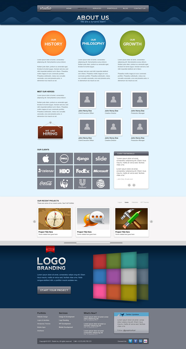 About Us Page Preview Studio Website psd