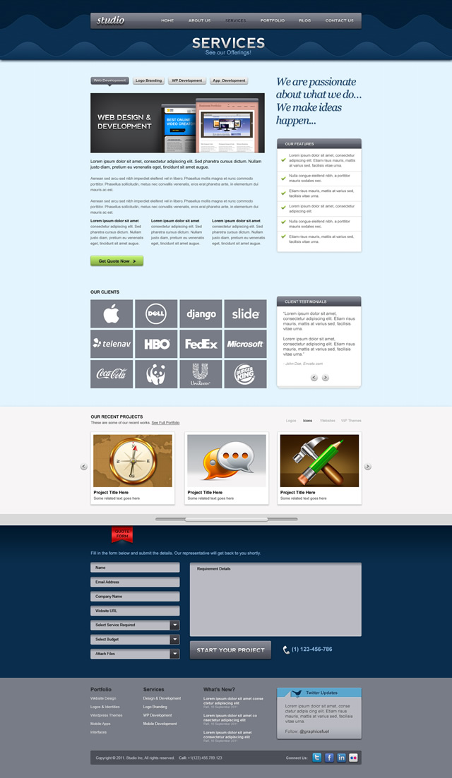 Services Page Preview Studio Website psd