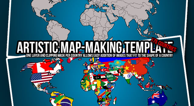 Artistic Map-Making PSD world map Template
