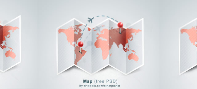 Folded World Map template PSD