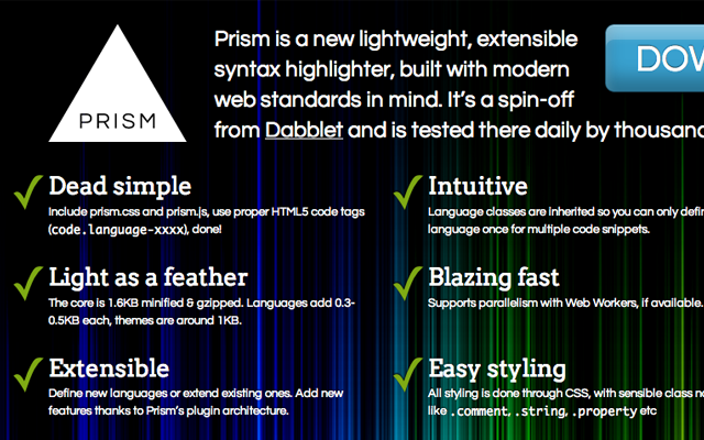 Prism.js JavaScript open source coding library