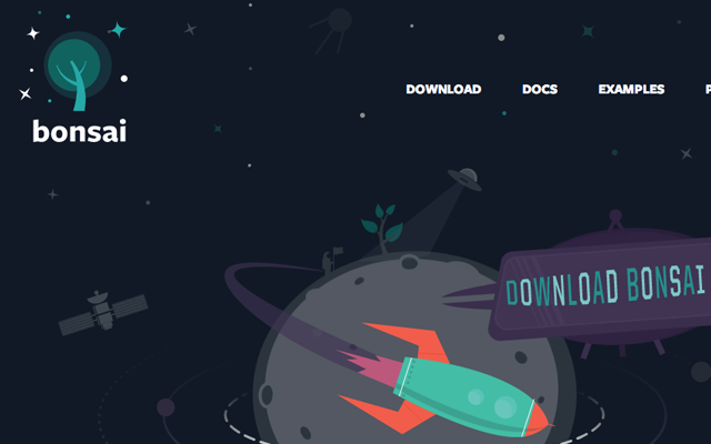 Bonsai.js JavaScript code website layout vector graphics