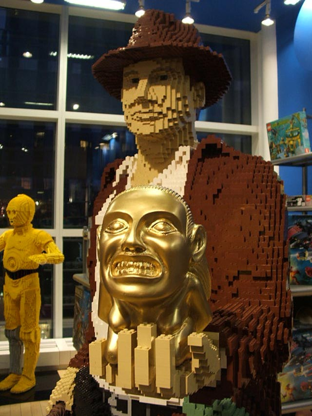 Life sized Lego Indian Jones sculpture