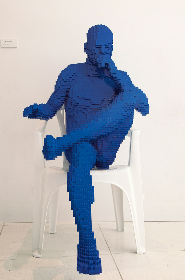 Lego man sculpture