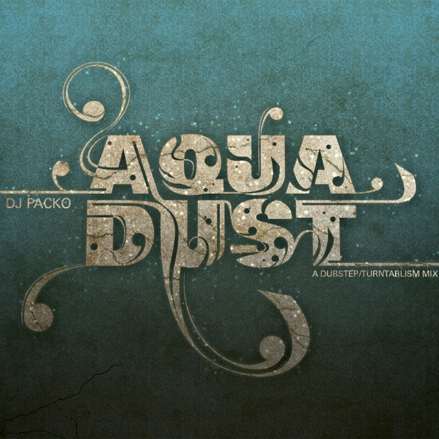 Aqua Dust example typography cover of cd design