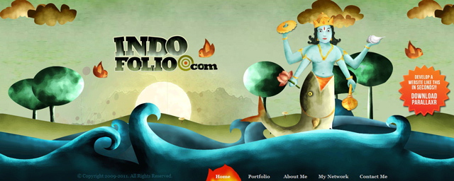 Indo Folio as an example of a site that uses illustrated landscapes