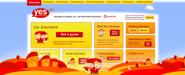 Yes insurance as an example of a site that uses illustrated landscapes