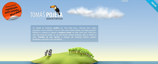 Tomas Pojeta used as an example of a beautiful web site with a landscape that has been illustrated