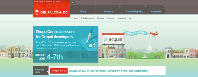 Drupalcon as an example of a site that uses illustrated landscapes
