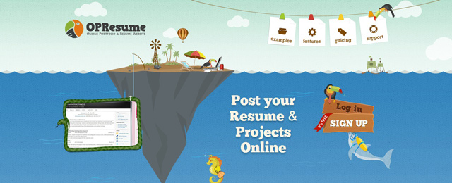 Opresume used as an example of a beautiful web site with a landscape that has been illustrated