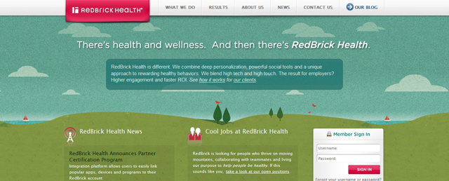 Red Brick Health as an example of a site that uses illustrated landscapes