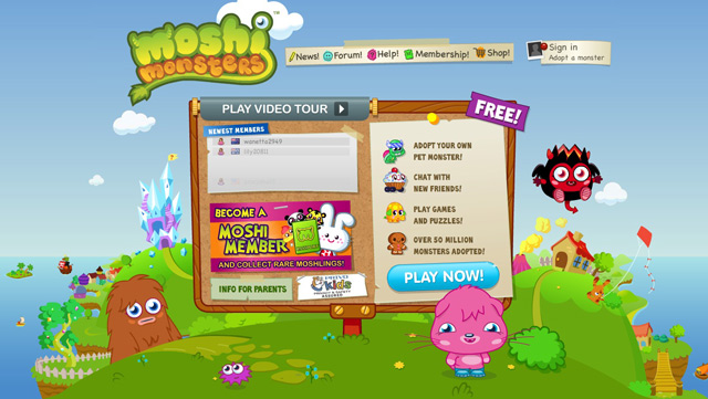 Moshi Monsters used as an example of a beautiful web site with a landscape that has been illustrated