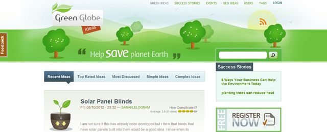 Green Globe as an example of a site that uses illustrated landscapes