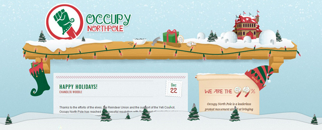 Occupy Northpole used as an example of a beautiful web site with a landscape that has been illustrated