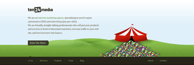 Ten24media as an example of a site that uses illustrated landscapes