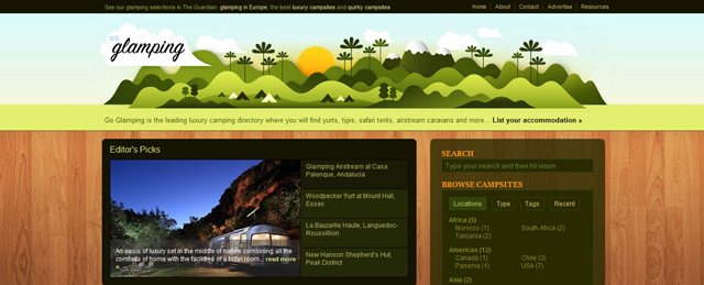 Go Glamping used as an example of a beautiful web site with a landscape that has been illustrated