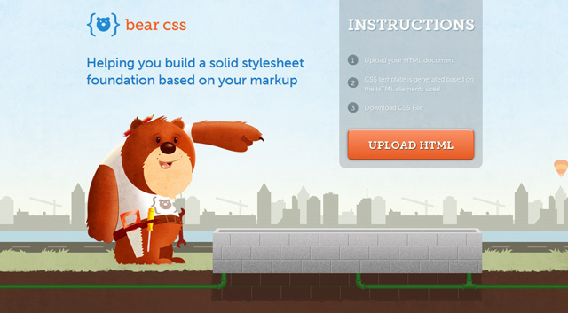 Bear css used as an example of a beautiful web site with a landscape that has been illustrated