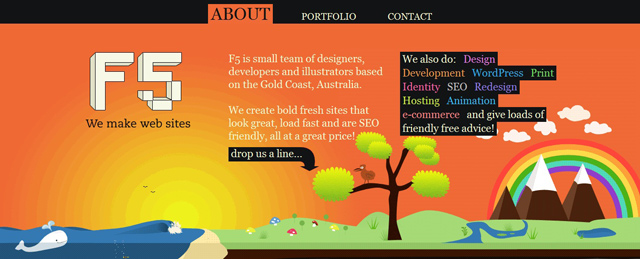 F5 as an example of a site that uses illustrated landscapes