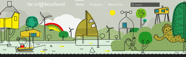 The Neighborhood used as an example of a beautiful web site with a landscape that has been illustrated