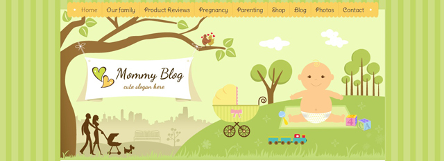 Mommy Blog as an example of a site that uses illustrated landscapes