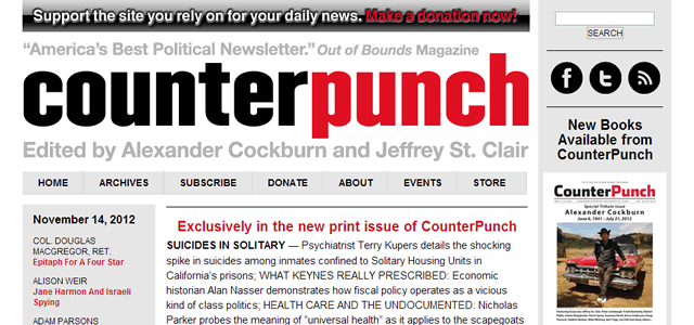 screenshot of the website counterpunch.com