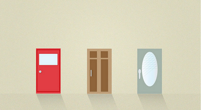 flat illustrated doors