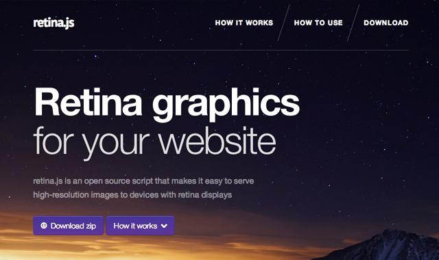 Retina js JavaScript script homepage website layout