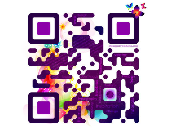 Lisa Frank Inspired example of QR code