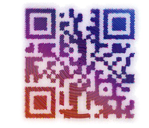 Rainbow example of QR codes