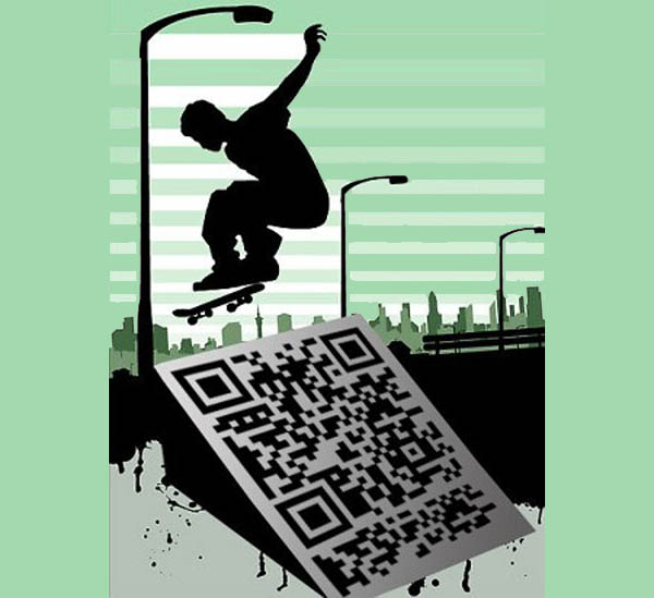 Skater beautiful QR code example