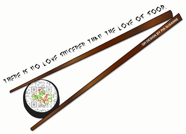 Chopsticks designed QR code for functionality