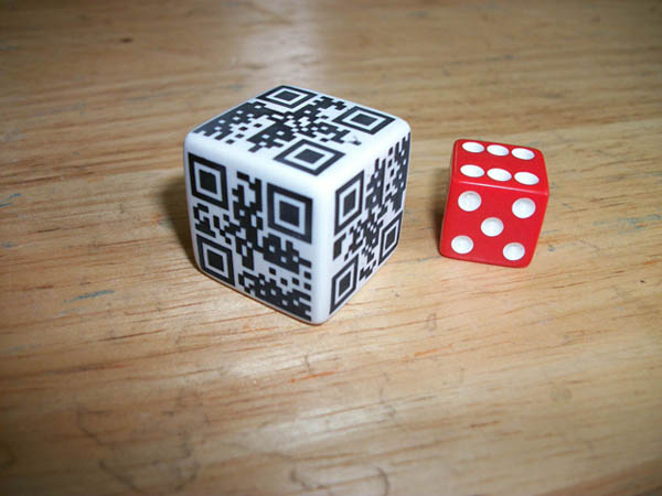 Dice designed QR code for functionality