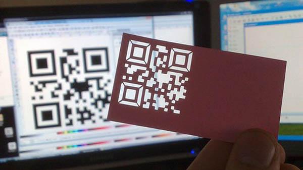 Cutout QR code inspirationally designed