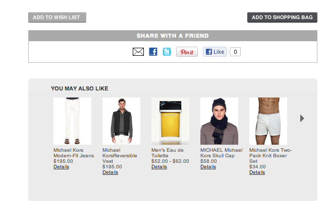 Michael Kors website layout suggested related products eCommerce