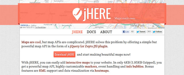 jHERE is a lightweight jQuery plugin that allows you to easily add interactive maps to your website