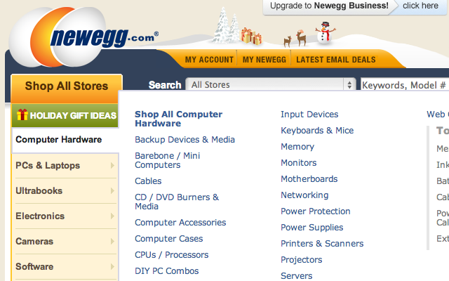 Newegg homepage flyout navigation menu sidebar