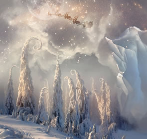 Magic Christmas Scene with Flying Santa Photoshop Tutorial