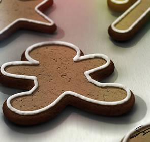 Create a Gingerbread Cookie Scene Photoshop Tutorial
