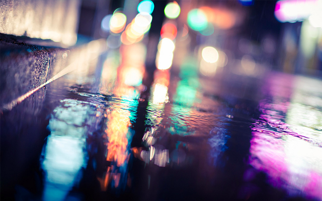 dark rainy Tokyo Japan night lights bright 2013 photograph