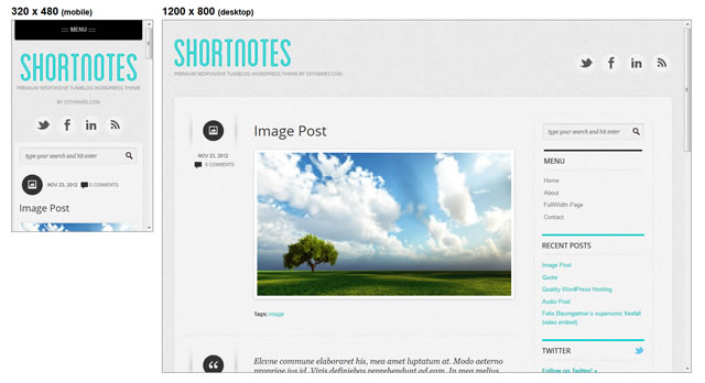 Shortnotes minimal theme WordPress