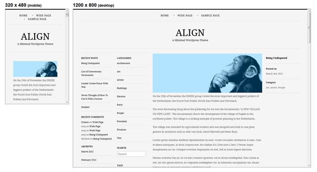 Align minimal theme WordPress