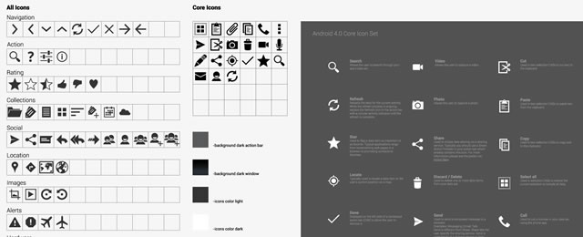 Android Default Icons 4+ freebie for web design