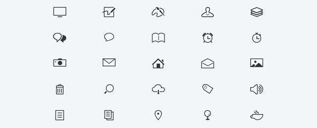 Modern Minimal Glyphs free for web designers