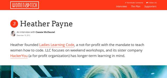 Women And Tech screenshot in Best of Web Design 2012