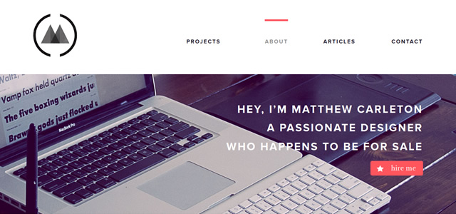Matthew Carelton screenshot in favorite Web Designs 2012