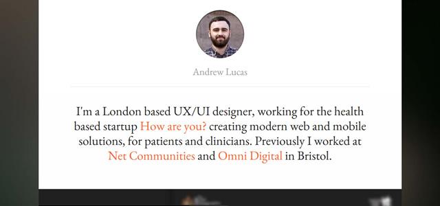 Andrew Lucas screenshot in Best of Web Design 2012
